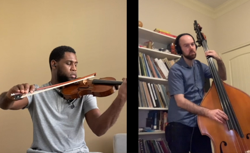 Raniel Joubert, violin, plays with Dave Connor, bass