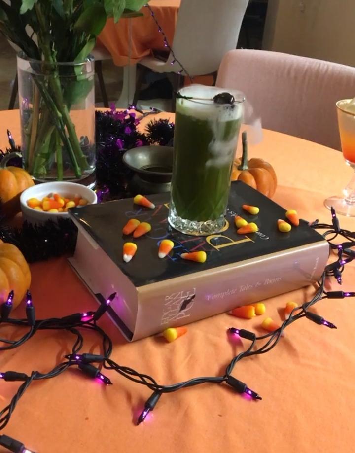 Green matcha Halloween cocktail
