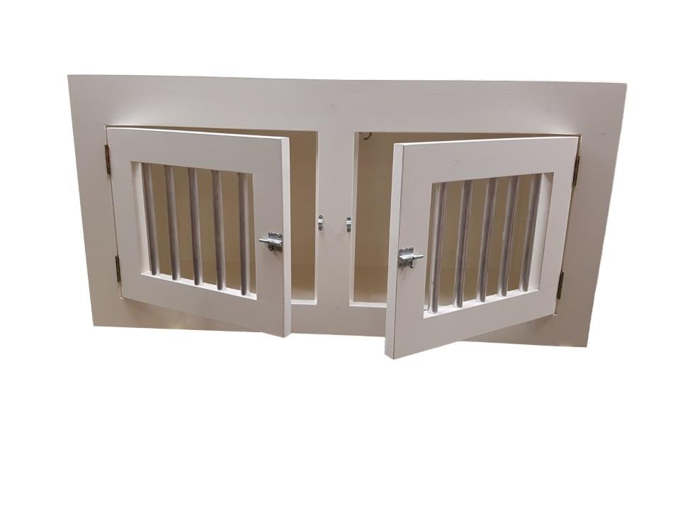 hondenbench wit met 2 deuren open