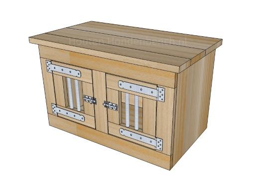 Houten Honden Bench 2 deuren met spijlen 80 x 40 x 50 cm