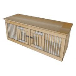Honden Bench 2 deur met zij spijlen 200 x 60 x 70 cm