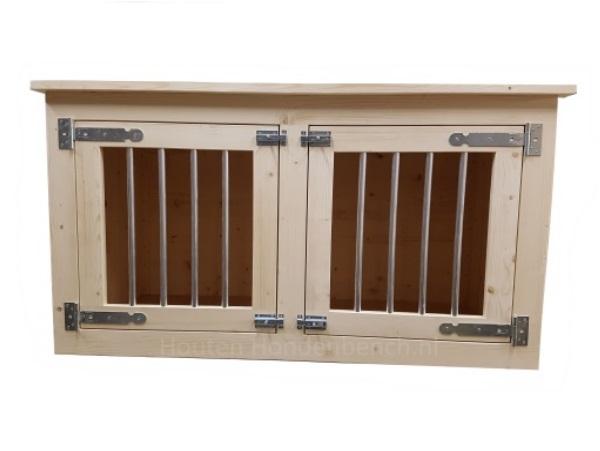 Honden bench 2 deurs in blank hout en met blank beslag