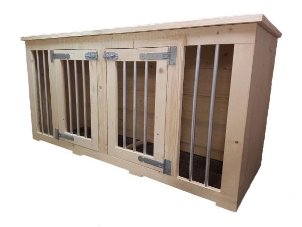 Houten hondenbench 2 deurs Large in blank hout en met blank beslag