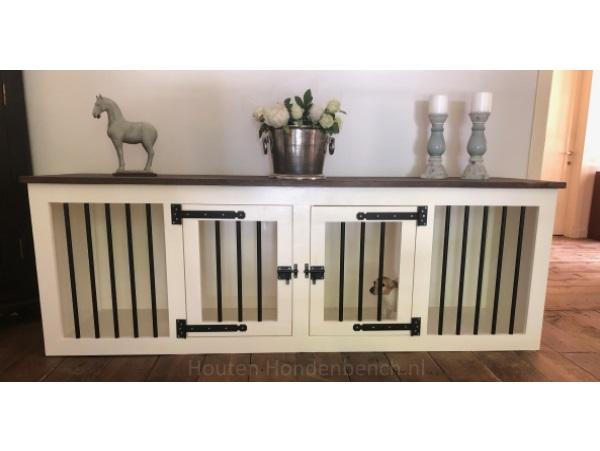 Houten hondenbench 2 deurs cremé wit met zwart beslag