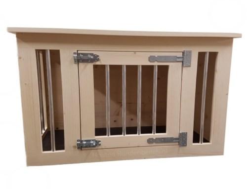 hondenbench in blank hout met 1 deur en spijlen