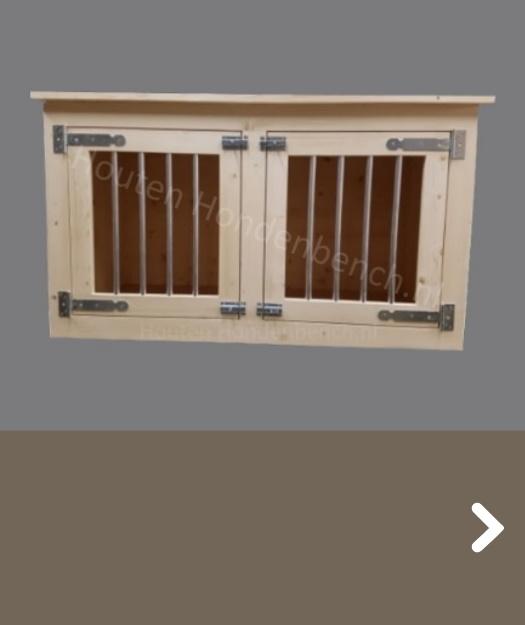 Hondenbench van hout voor hond met 2 deuren