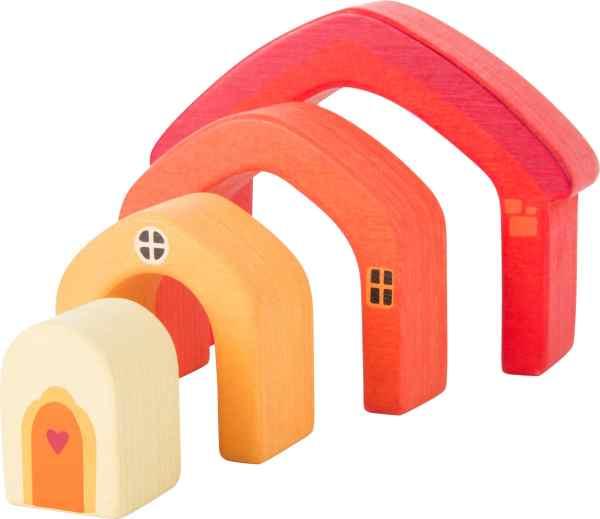 Houten speelgoedhuisje blokken