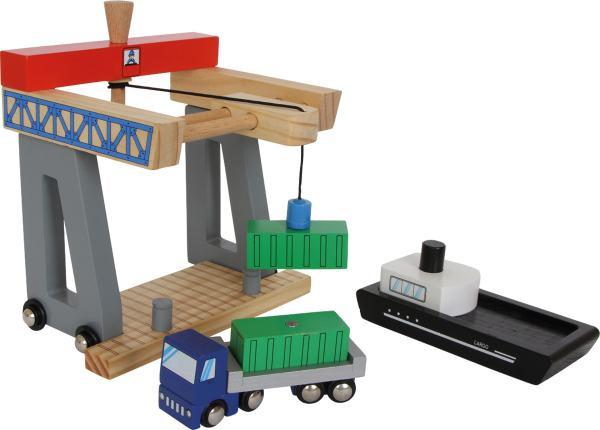 Houten speelgoed containership haven