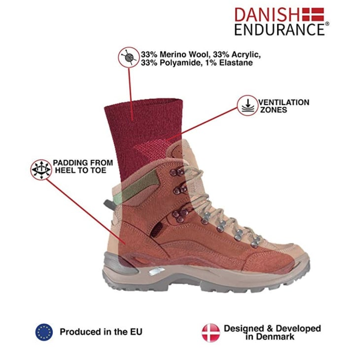 DANISH ENDURANCE Calcetines de Senderismo de Lana Merino