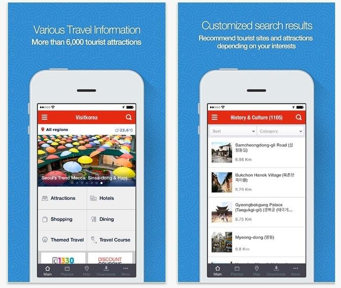 Descarga la aplicación de turismo oficial de Corea del Sur