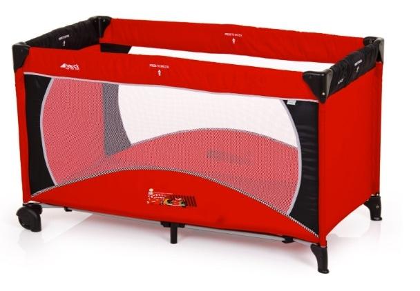 Hauck 606285 Dream'n Play Go - Cuna de viaje, parque de juegos con diseño de Cars II (60 x 120 cm, 2 ruedas)