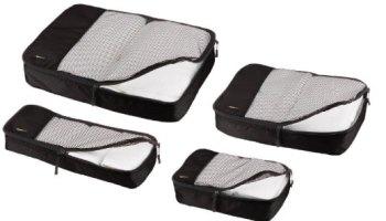 AmazonBasics - Bolsas de equipaje (pequeña, mediana, grande y alargada, 4 unidades)