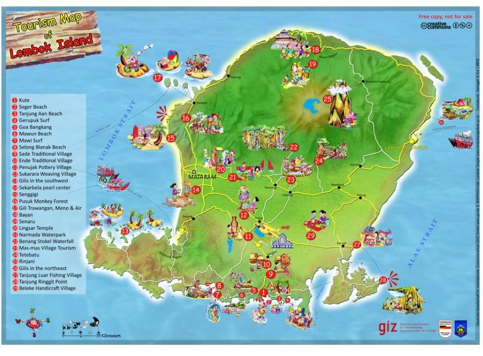 mapa de Lombok en Indonesia