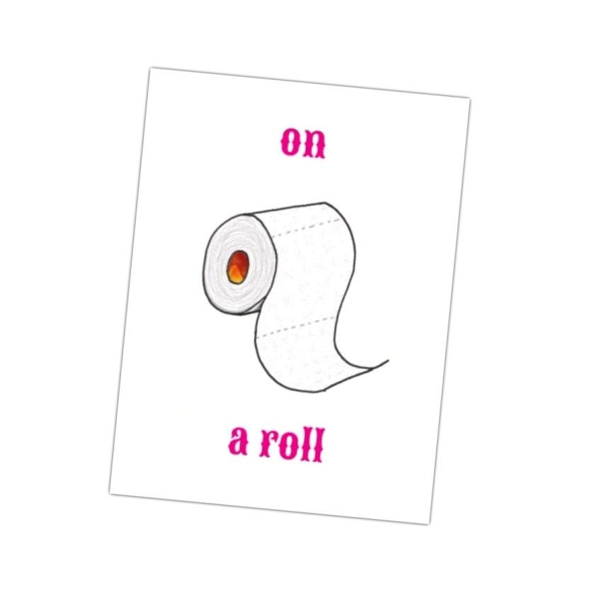 ansichtkaart met een knipoog, deze on a roll kaart