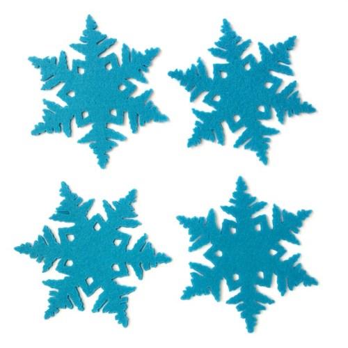 set van vier blauwe onderzetters sneeuw winter kerst kado