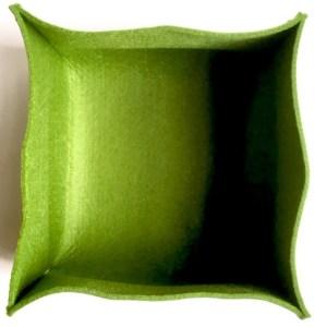groene vilten opberger voor het opruimen in jouw interieur