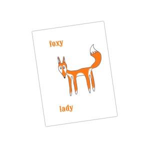 kaartje met vos: foxy lady