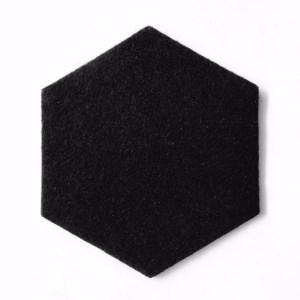 zwarte onderzetter in de vorm van een zeshoek