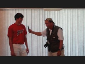 Young baseball player Chad Wiley is set upon by an aggressive member of the Media for an unexpected interview.