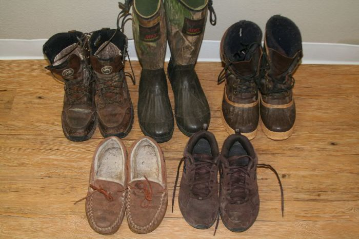 A selection of shoes and boots to wear hunting and in the lodge.