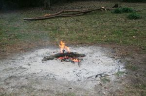 At the end of the day you want your fire to be completely burned down and the area around it raked clean.
