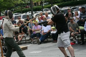 Exciting outdoor demonstrations are always a part of Blade Show events.