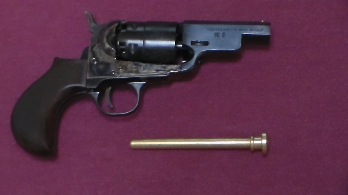 Dixie's Pietta-made Snubnose .44-caliber percussion revolver with bird's head grips and no loading lever is an interesting development on what large-caliber percussion pocket revolvers should have been.