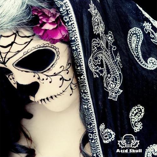 Halloween Day of the Dead Dia de los Muertos skull makeup face paint pink rose b