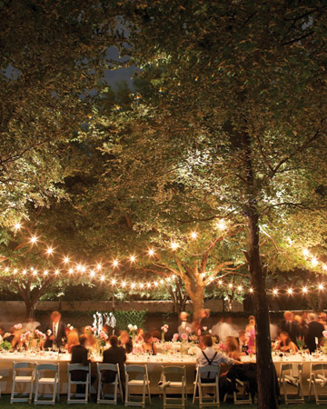 Strings of Stars, wedding reception lighting