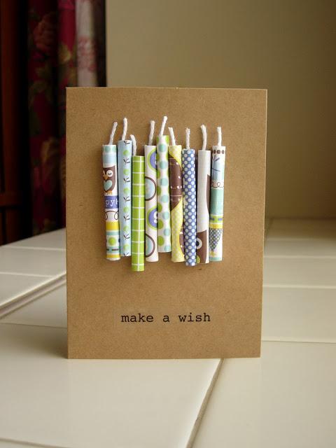 homemade candle birthday card.