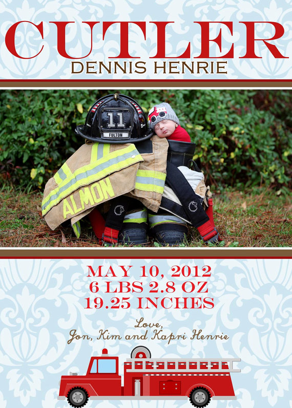 Fireman baby announcement!