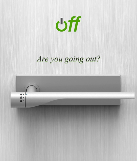 A door handle that can turn your electricity and gas off when you leave.  This i