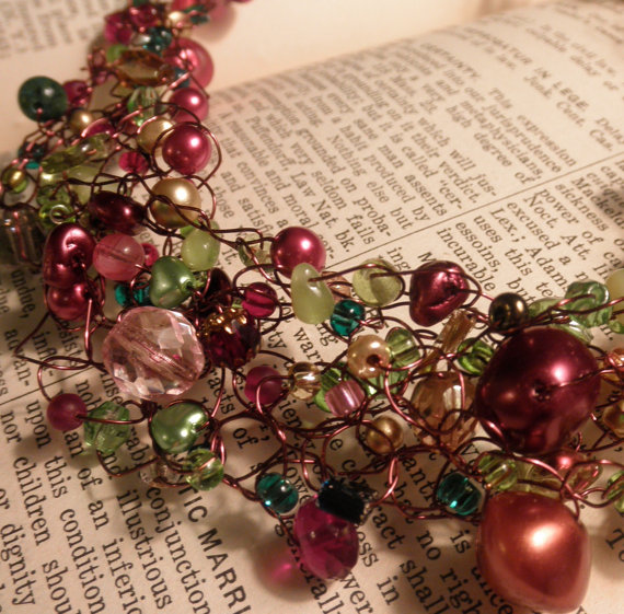 My daughter makes these crocheted wire beaded necklaces – so fun!