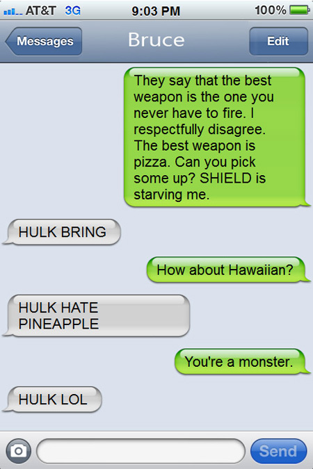 Texts From (Movie Characters) Last Night: Iron Man (Tony Stark) & Hulk (Bruce Ba