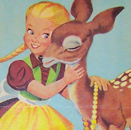 Vintage Deer & Girl