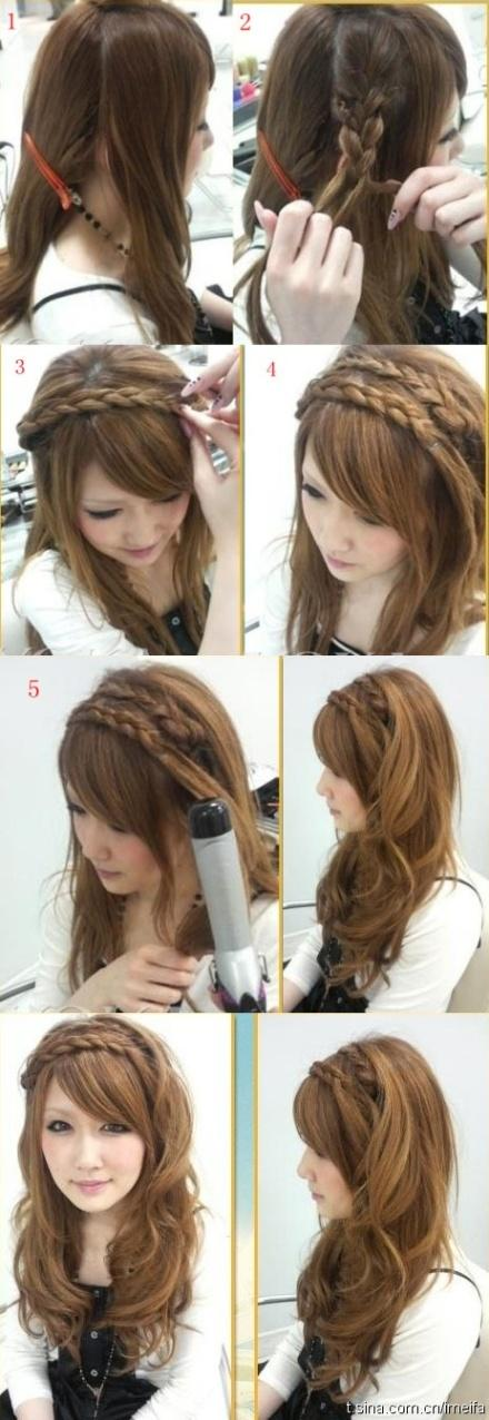 Double braid 3/4 crown with wide curls