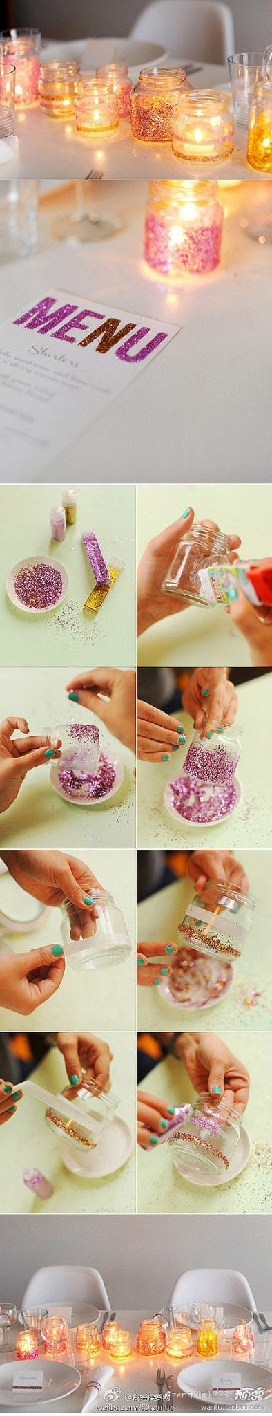 DIY Glitter Candles Ideas