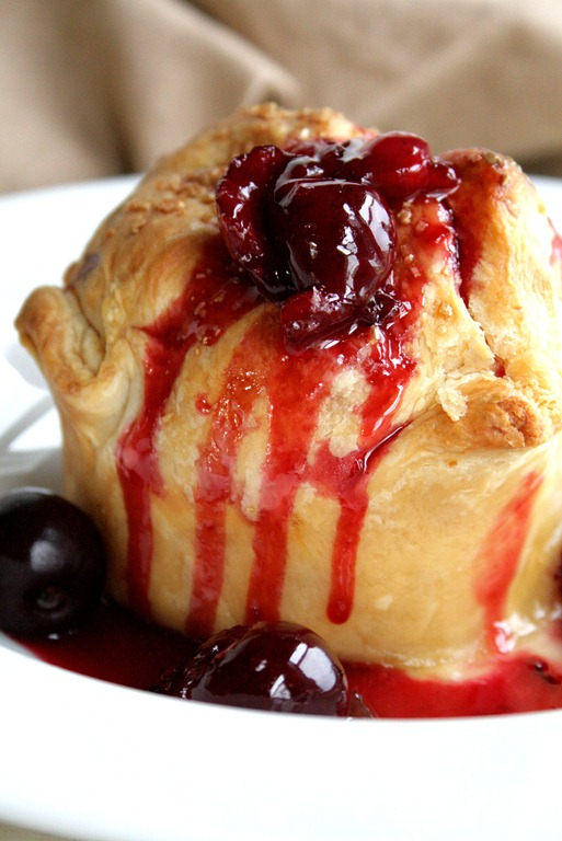 Peach Dumplings with Sweet Cherry Sauce – quick, easy, fresh ingredient dessert!