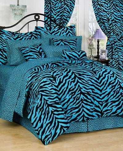 blue zebra bedroom