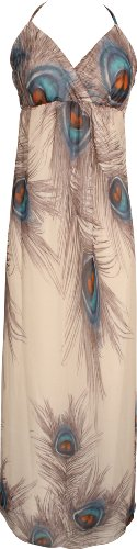 PacificPlex Plus Size Chiffon Peacock Maxi Dress