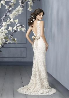 A-Line Bateau Floor Length Attached Alencon Lace Wedding Dress style 11339 (minu