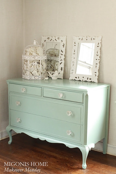Dresser refinished in Benjamin Moore's Azores (Pottery Barn color)