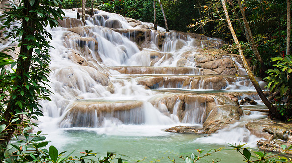 dunns river falls, jamaica. i just want to see what its like to just sit on the