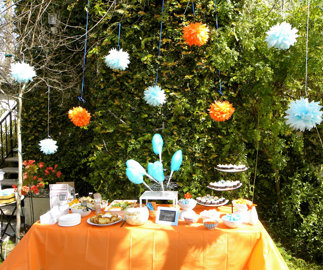 Orange and Blue Baby Shower