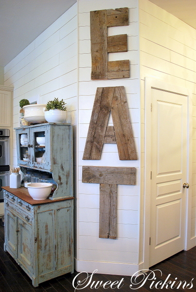 Reclaimed wood kitchen sign good thing for some of the strange walls in my dinin