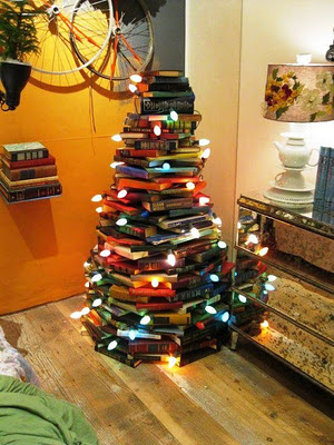 christmas tree of books @Courtney Stone