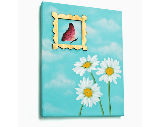Framed Butterfly Canvas. Capture a butterfly in flight on this cloud filled canv