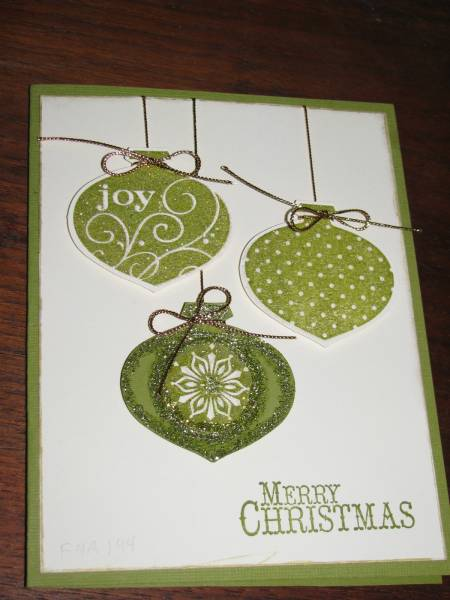 Christmas card … three shiney green ornaments … clean and simple … shiney