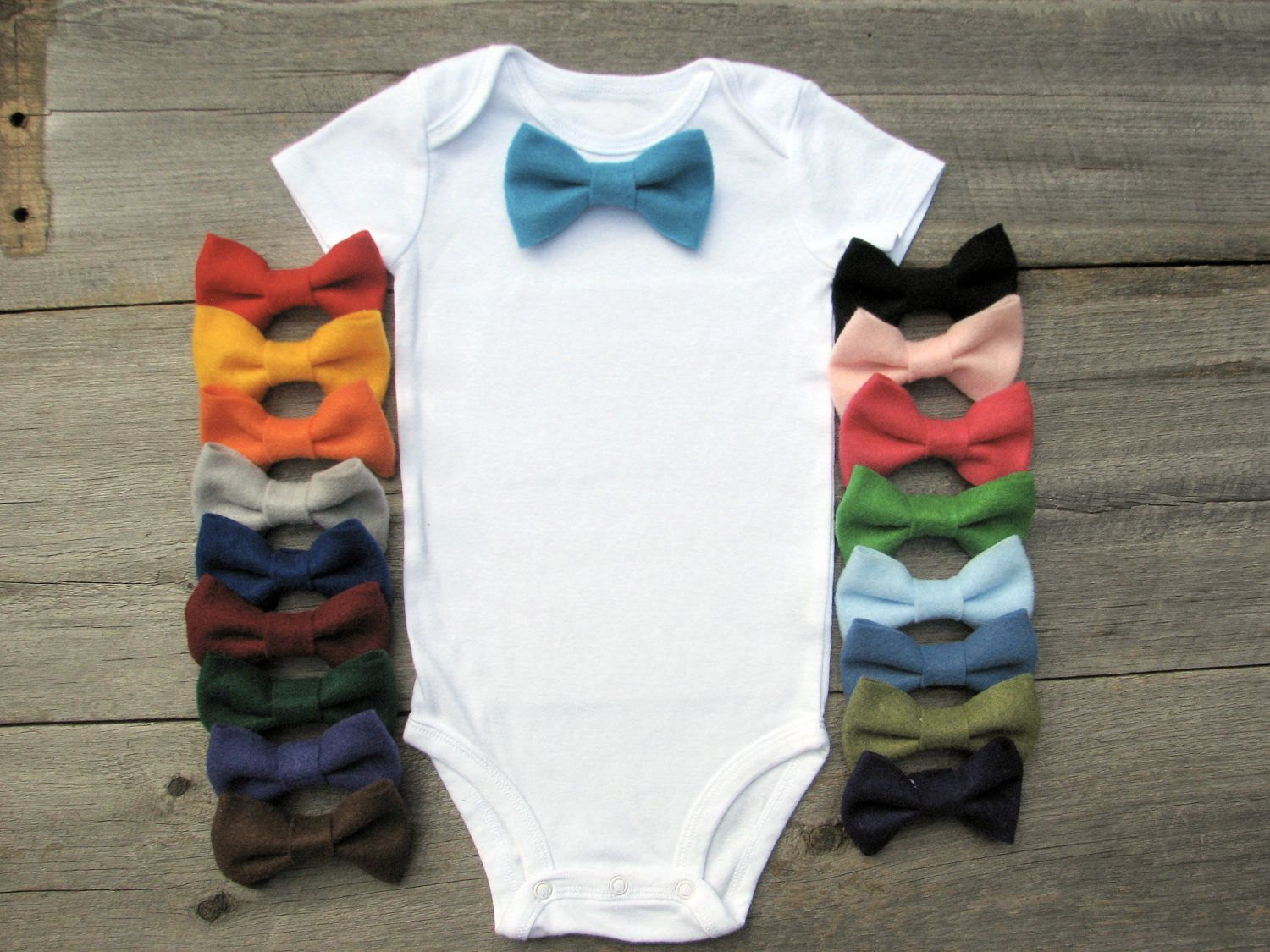 Little man onesie idea– make different color bow ties and attach with a snap.