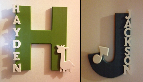 Love this!! Painted wood name signs for the kids doors – Simple to make and hang